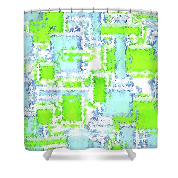 Earth And Sky Abstract Green And Blue Shower Curtain
