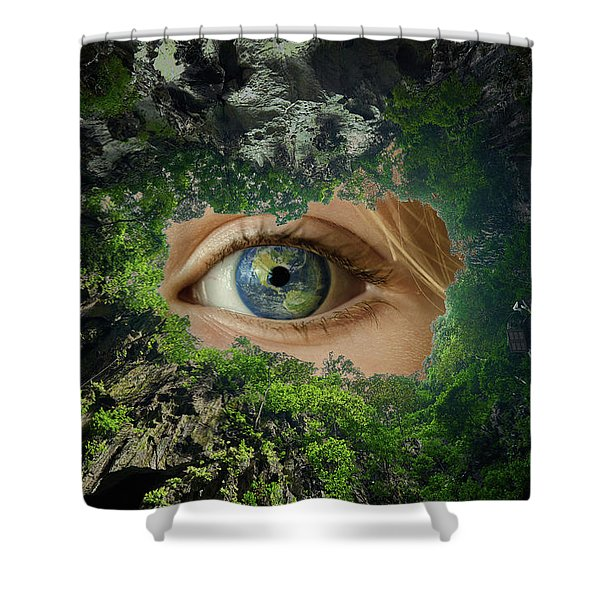 Earth Is Watching You Shower Curtain