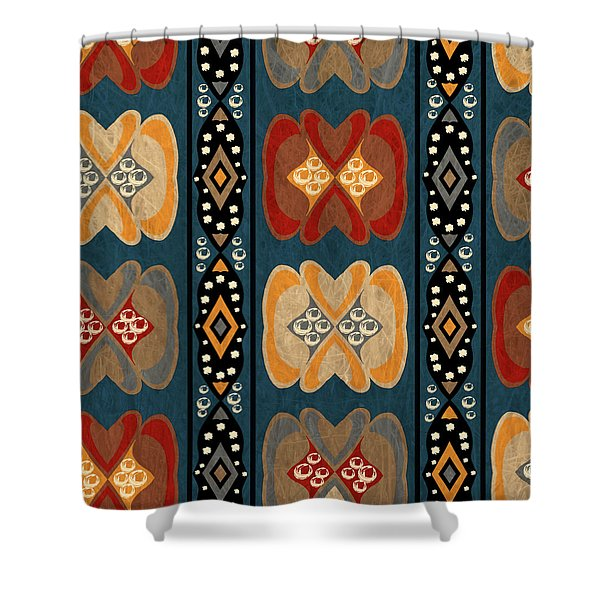 East African Heart And Diamond Stripe Pattern Shower Curtain