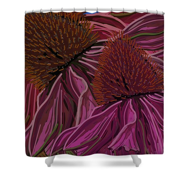 Echinacea Flower Blues Shower Curtain