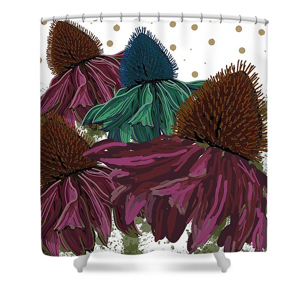 Echinacea Flower Skirts Shower Curtain