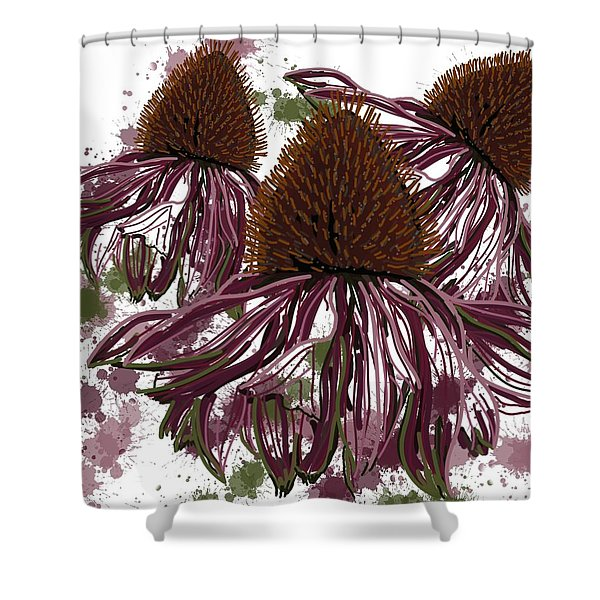 Echinacea Flowers Line Shower Curtain