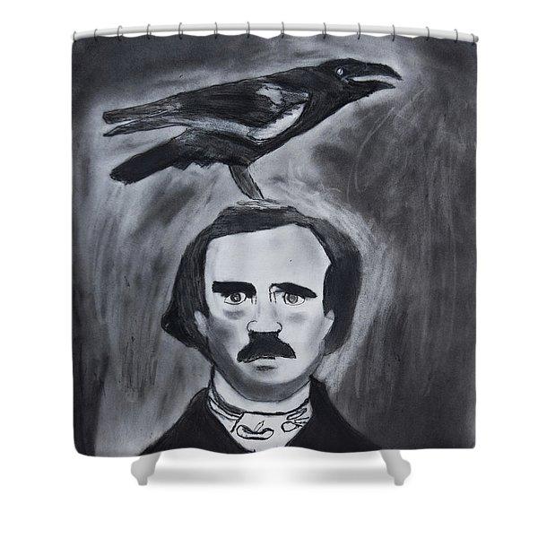 Edgar Allen Poe Drawing Shower Curtain