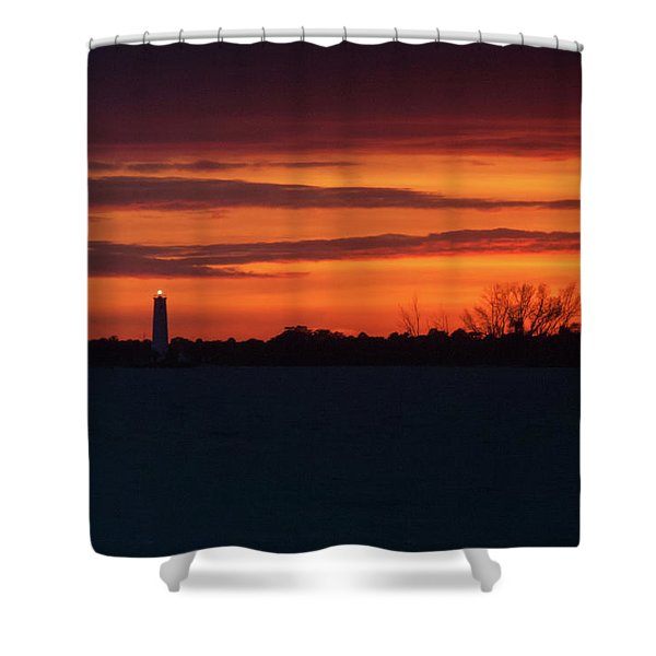 Egmont Key Lighthouse Sunset Shower Curtain