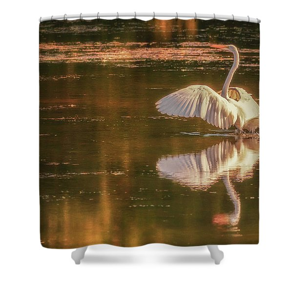 Egret Reflections 2 Shower Curtain