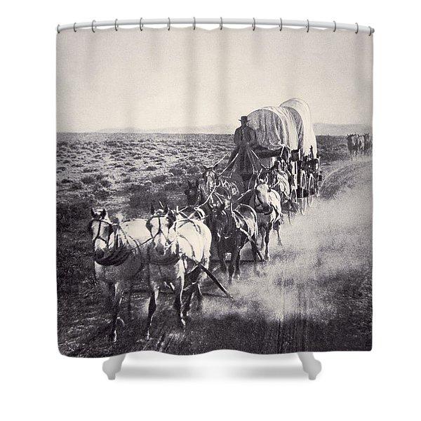 Eight Horse Heavy Freight Wagon Shower Curtain