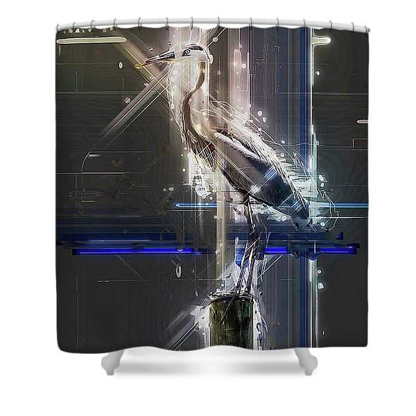Electric Heron Shower Curtain