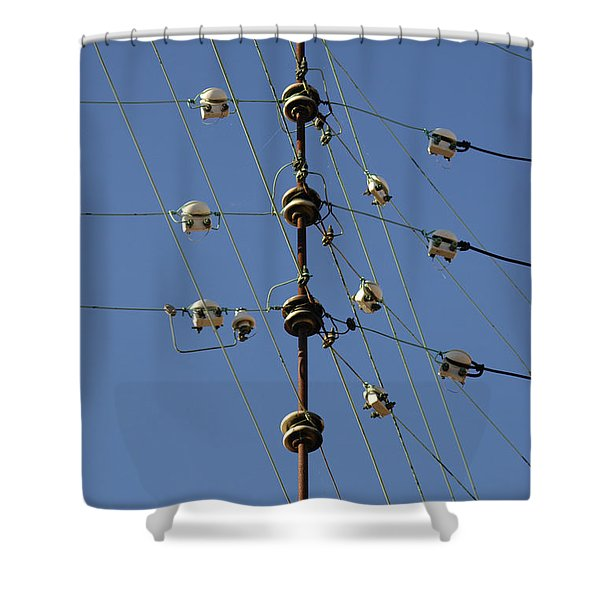 Electric Wires Junction Shower Curtain