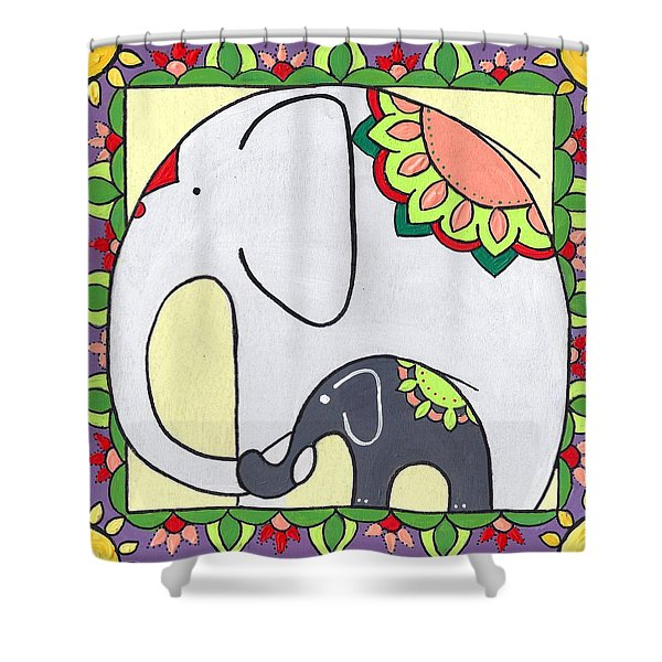 Elephant And Child 6 Shower Curtain