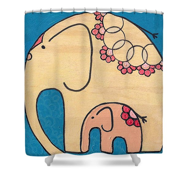 Elephant And Child On Blue Shower Curtain