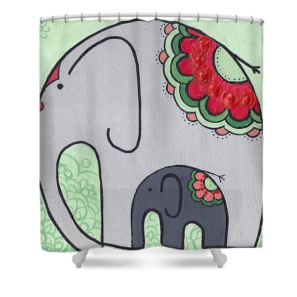 Elephant And Child On Green Shower Curtain
