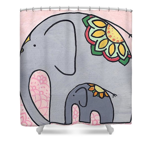 Elephant And Child On Pink Shower Curtain