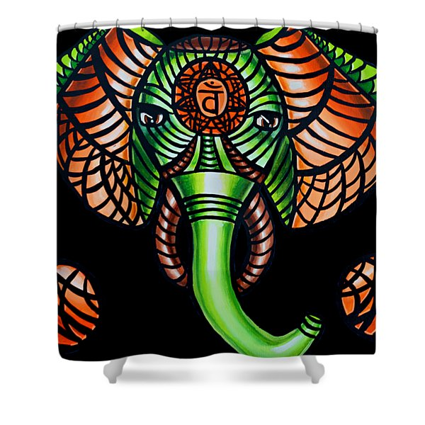 Zentangle Elephant Head Art Painting, Sacral Chakra Art, African Animal Tribal Artwork Shower Curtain