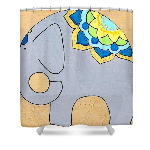Elephant On Gold Shower Curtain