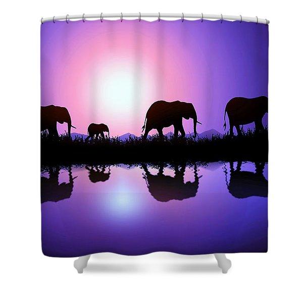 Elephant Parent Shower Curtain