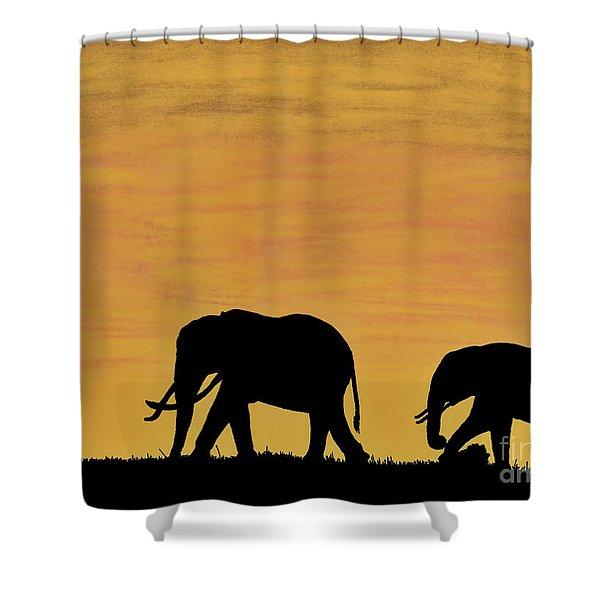Elephants - At - Sunset Shower Curtain
