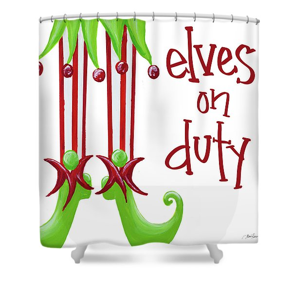 Elves On Duty Square Shower Curtain