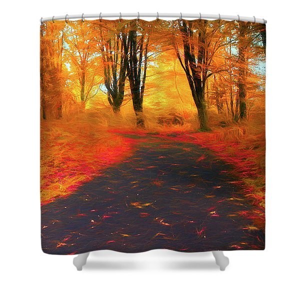Emmaus Community Park Path - Colors Of Fall Shower Curtain