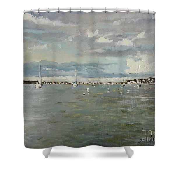 Entering Sunset Marina Shower Curtain
