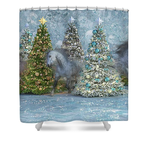 Equine Holiday Spirits Shower Curtain