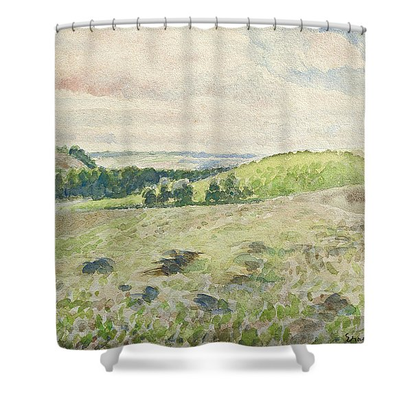 Eragny, Ploughing Field, 1888 Shower Curtain