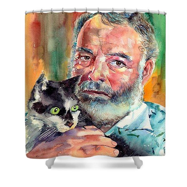 Ernest Hemingway Portrait Shower Curtain