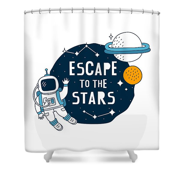 Escape To The Stars - Baby Room Nursery Art Poster Print Shower Curtain