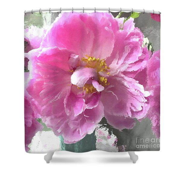 Ethereal Pink Impressionistic Watercolor Peony - Pink Watercolor Impressionistic Pink Peonies Floral Shower Curtain