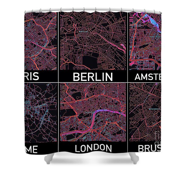 European Capital Cities Maps Shower Curtain
