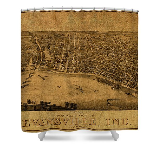 Evansville Indiana Vintage City Street Map 1880 Shower Curtain