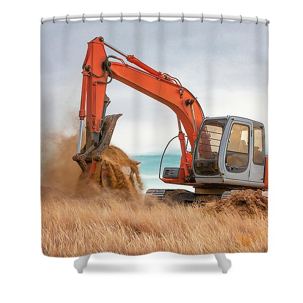 Excavator Working Shower Curtain