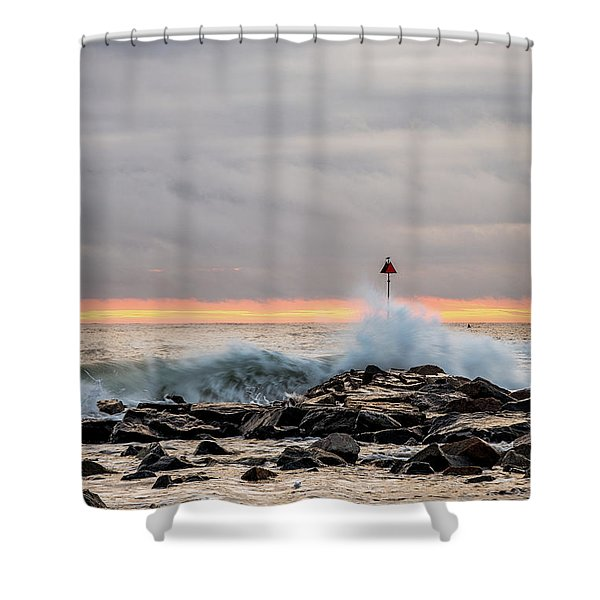 Shower Curtain featuring the photograph Explosive Sea 1 by Jeff Sinon