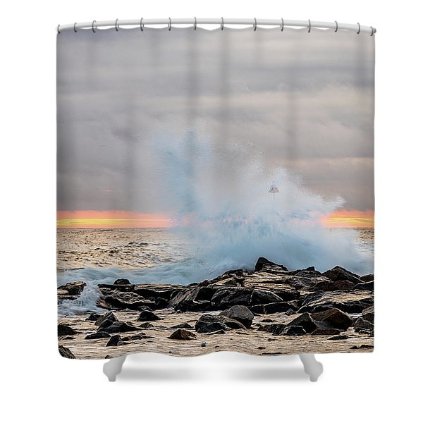 Shower Curtain featuring the photograph Explosive Sea 4 by Jeff Sinon
