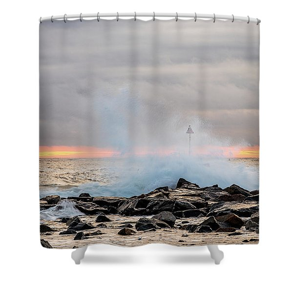 Shower Curtain featuring the photograph Explosive Sea 5 by Jeff Sinon