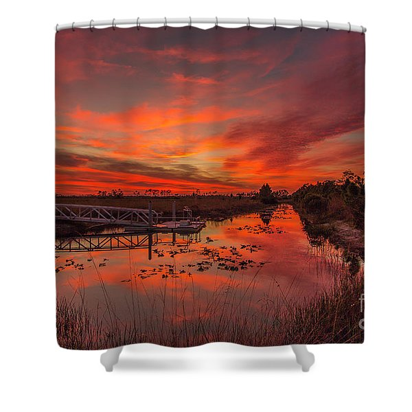 Shower Curtain featuring the photograph Explosive Sunset At Pine Glades by Tom Claud