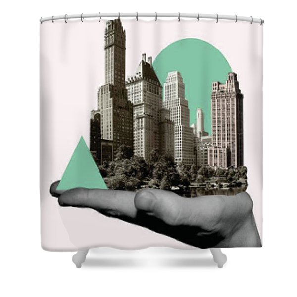Exquisite Buildings On Palm Shower Curtain