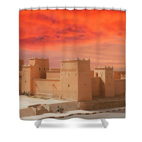 Exterior Buildings Of Kasbah Taourirt Shower Curtain