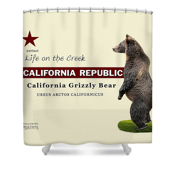 Extinct California Grizzly Bear Shower Curtain