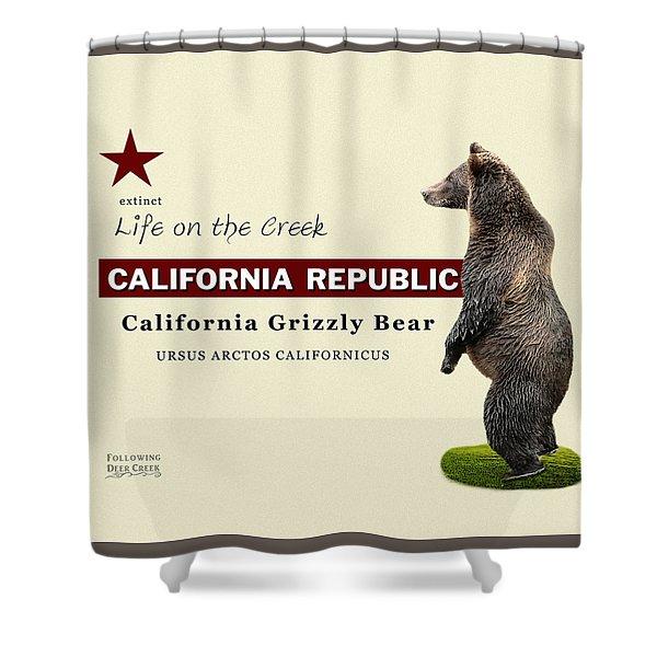 Extinct California Grizzly Bear Shower Curtain