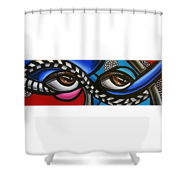 Eye Art Painting Abstract Chromatic Painting Electric Energy Artwork Shower Curtain