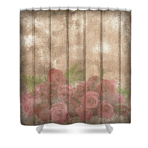 Faded Red Country Roses On Wood Shower Curtain
