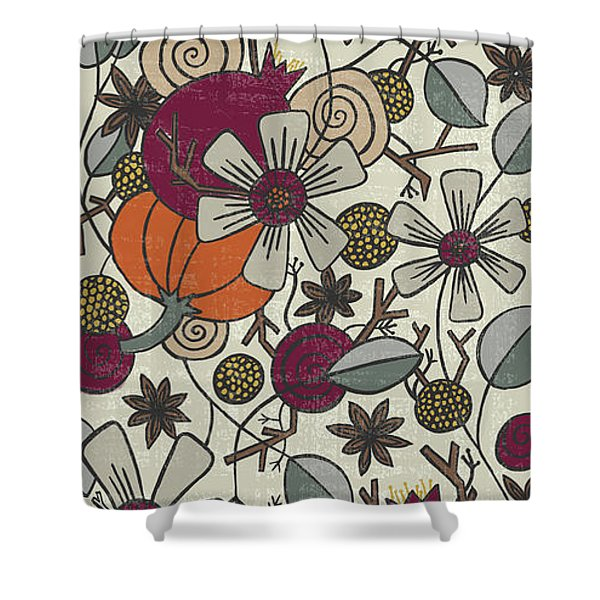 Fall Botanical Art Cream Background Shower Curtain