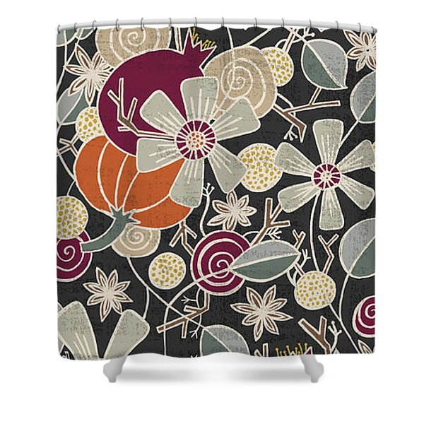 Fall Botanical Art Black Background Shower Curtain