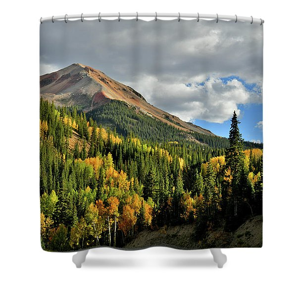 Fall Color Aspens Beneath Red Mountain Shower Curtain