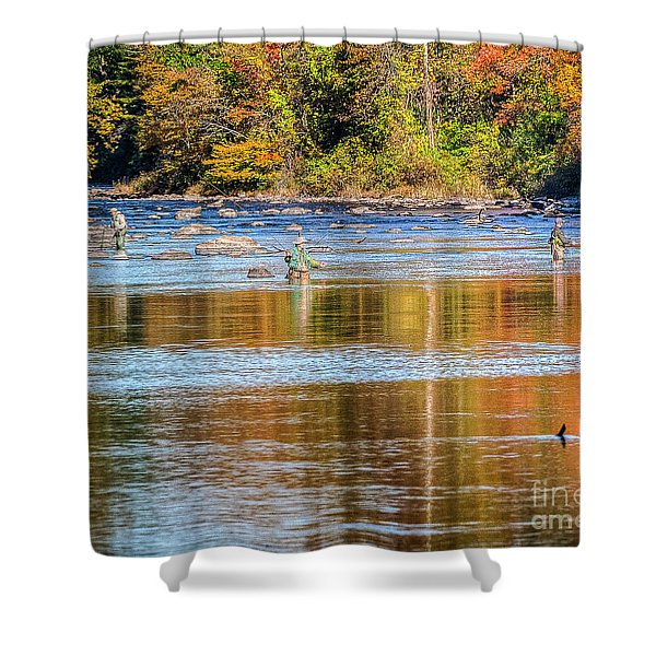 Fall Fishing Reflections Shower Curtain