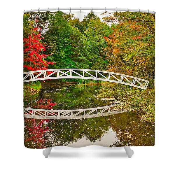Shower Curtain featuring the photograph Fall Footbridge Reflection by Tom Gresham