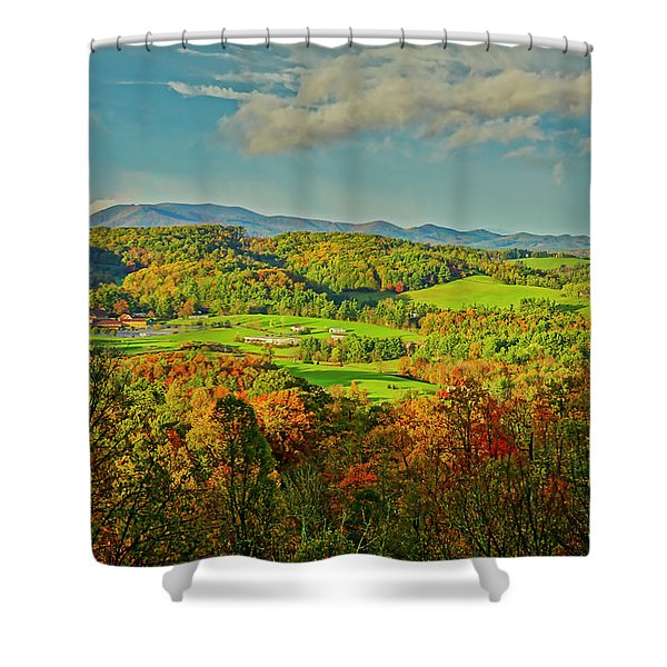 Shower Curtain featuring the photograph Fall Porch View by Meta Gatschenberger