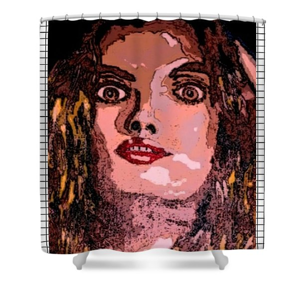 Fashion Girl Portrait Red Shower Curtain