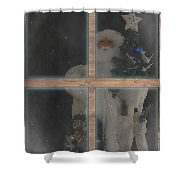 Father Christmas In Window Shower Curtain