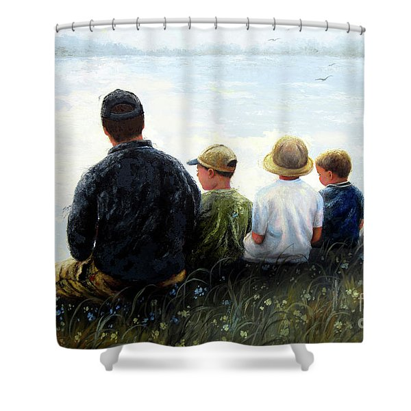 Father Three Sons By Lake Shower Curtain